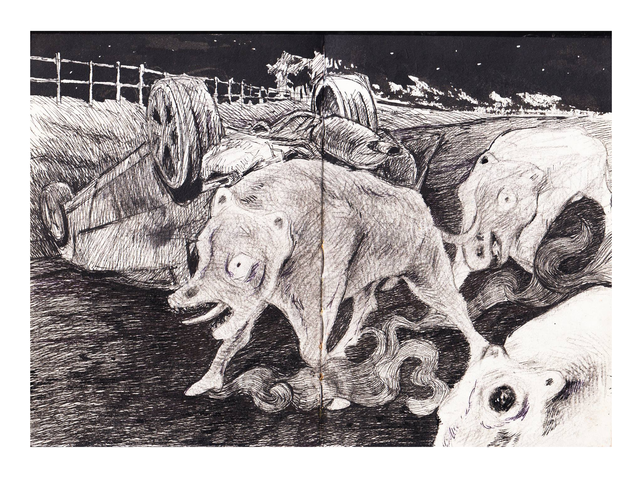 """""""Lost-Referential Land,"""" ink and pencil on paper."""