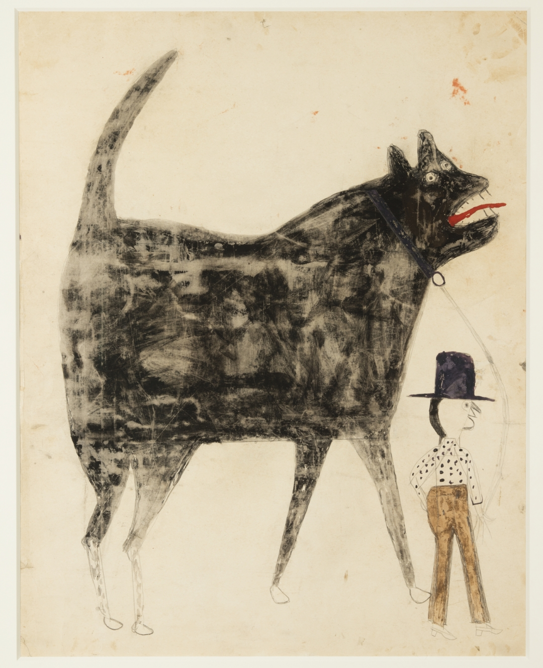 Bill Traylor,  Man and Large Dog , 1932-1942, poster paint and pencil on cardboard. Dogs are regular motifs in Traylor's work, varying from small and friendly looking animals to monsters. Of course dogs would have played a particular role in Traylor's formative years as a salve, and a similar role after the defeat of Reconstruction.