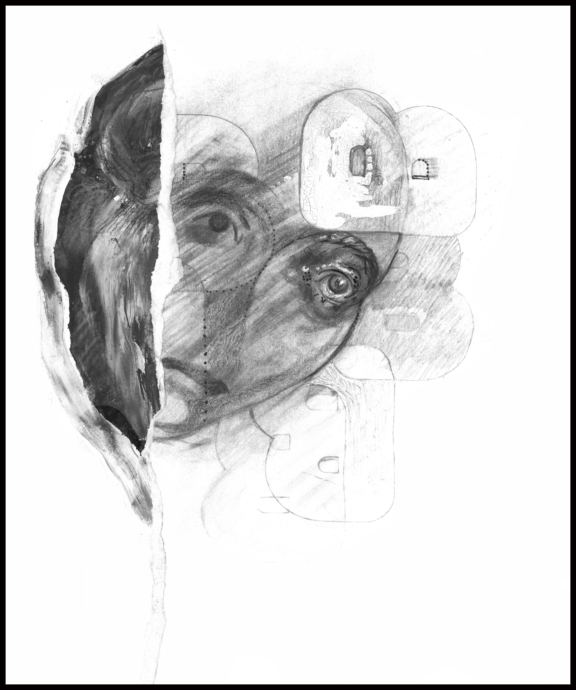 """""""anxiety . . . comrade,"""" mixed painting and drawing media, 2019"""