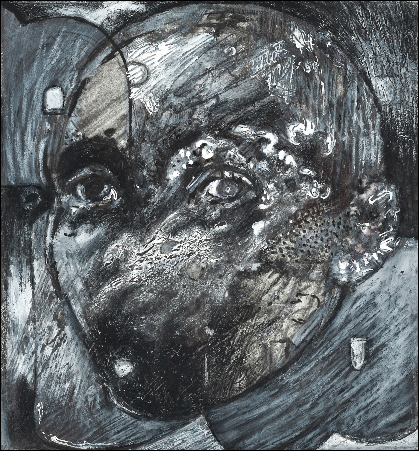 """""""comrade,"""" mixed painting and drawing media, 2019"""