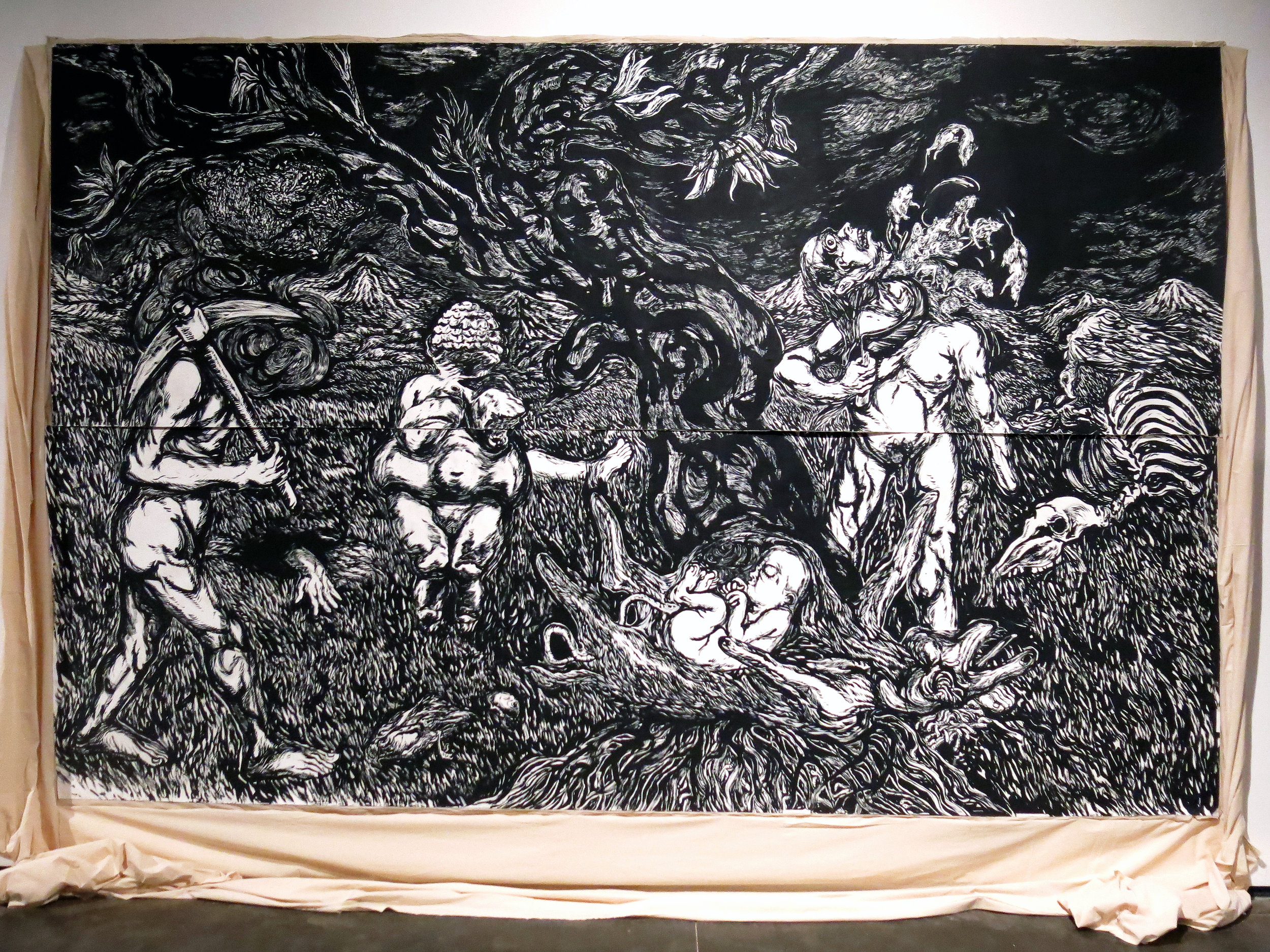 From  resistance land ; Black pigment and distemper on paper (350gsm, acid free, hot-press) pasted on cotton cloth; 10ft x 16ft (approximate, paper size); 2018. Image courtesy- Prakash Rao