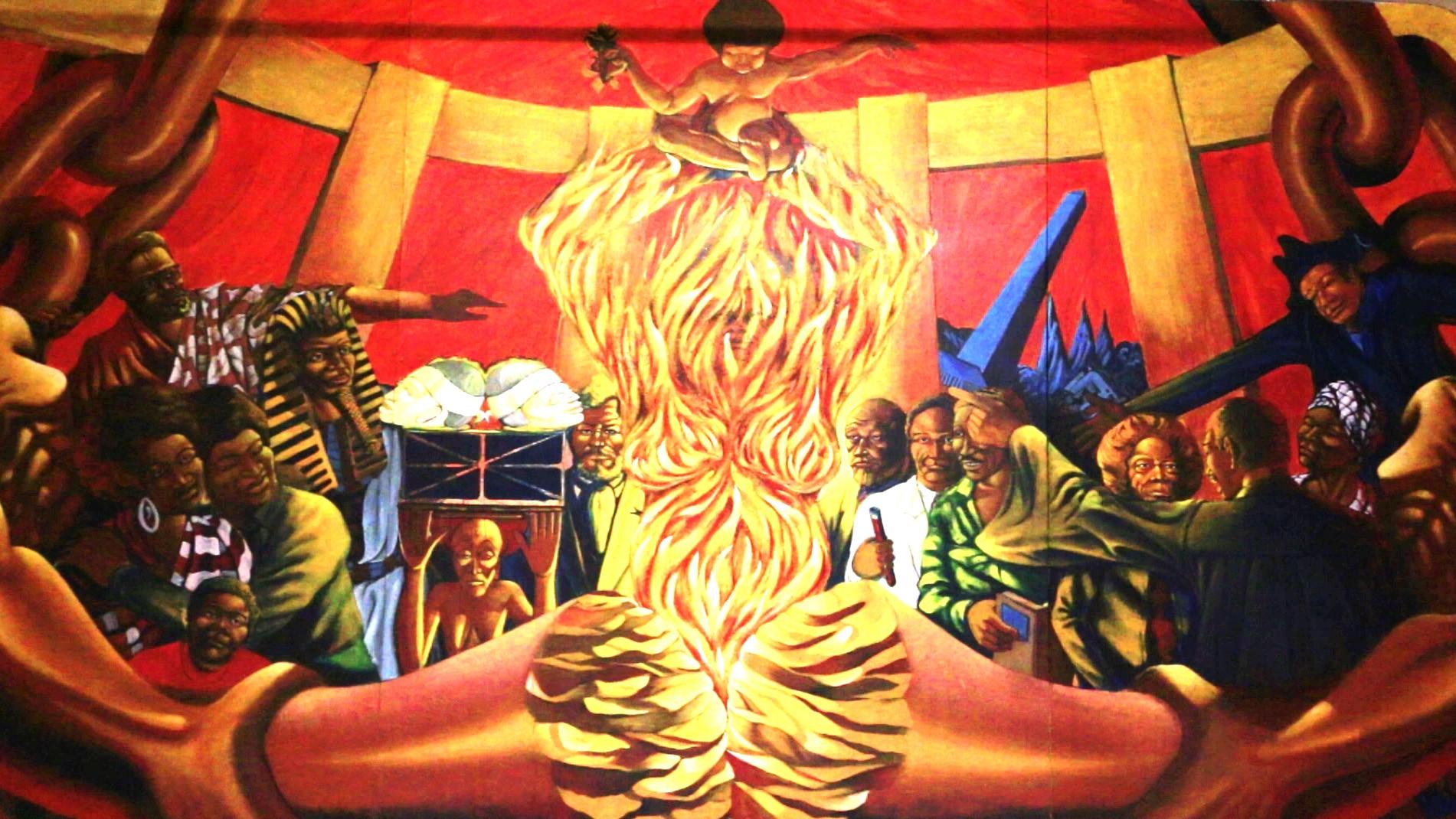 Details from Dewey Crumpler's  Multi-Ethnic Heritage  murals (1974)