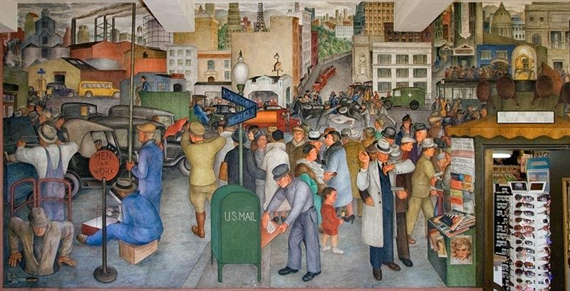 Victor Arnautoff,  City Life , mural at Coit Tower (1934)