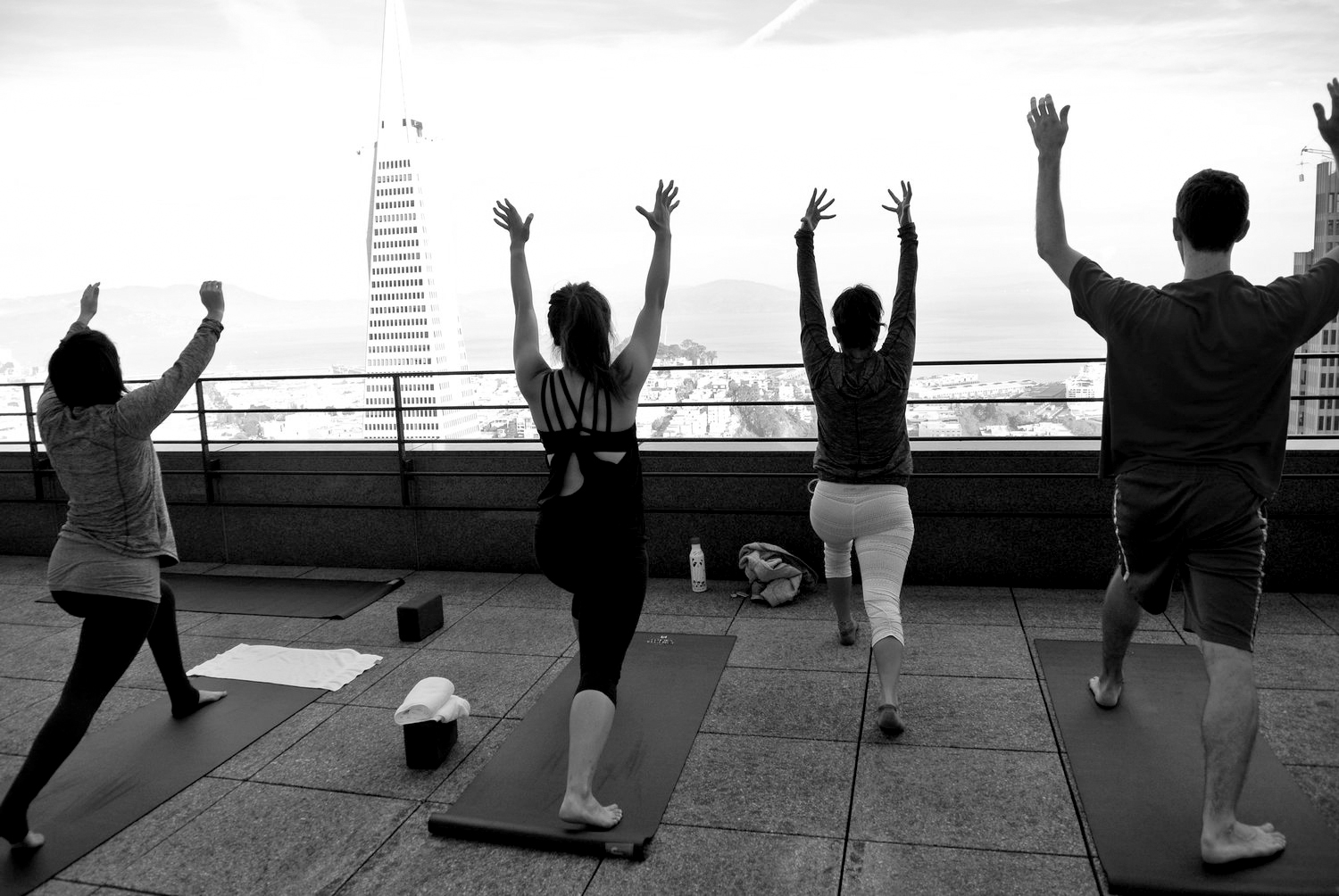 Rooftop yoga in the now utterly unaffordable San Francisco