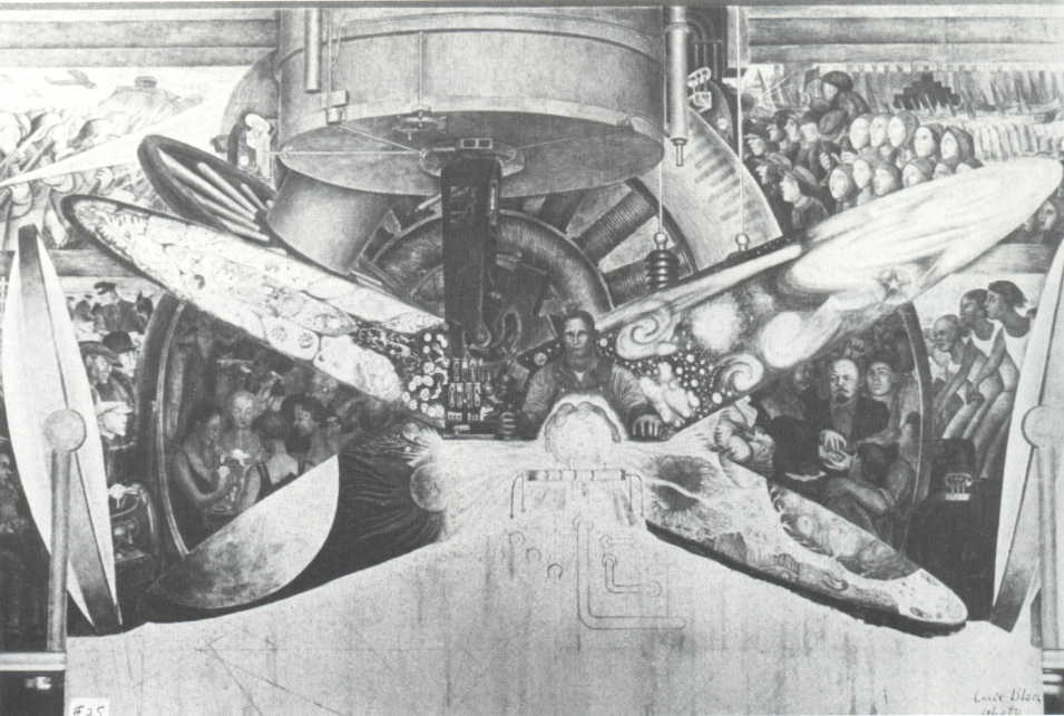 Diego Rivera's  Man at the Crossroads  (in production) prior to its destruction in 1933 (Rockefeller Plaza)