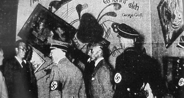 "Hitler inspecting modern art during one of the Nazi ""Degenerate Art"" exhibitions of the late 1930s."