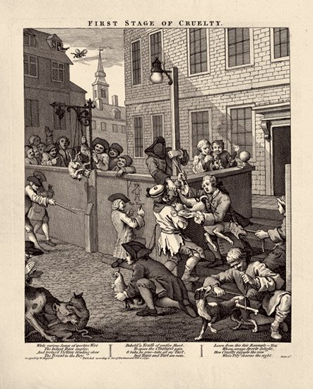 William Hogarth,  The Four Stages of Cruelty #1 , engraving (1751)