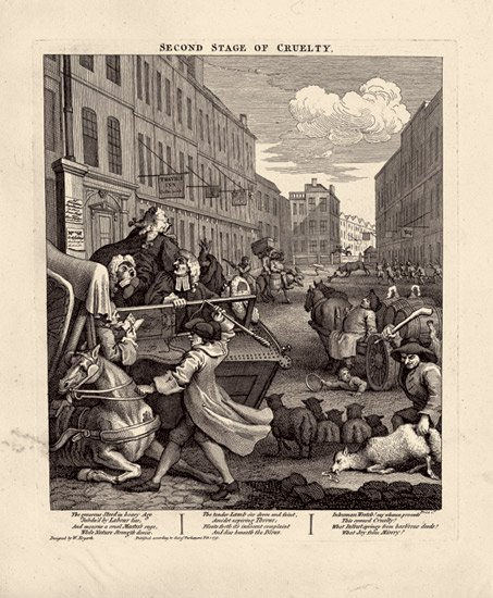 William Hogarth,  The Four Stages of Cruelty #2 , engraving (1751)