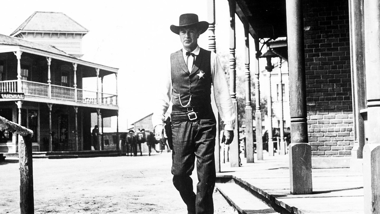 "Still from Fred Zinnemann's  High Noon  (1952): a secret allegory against McCarthyism. Gary Cooper gets cancelled but still does the ""right thing."" He then tells everyone to fuck off."
