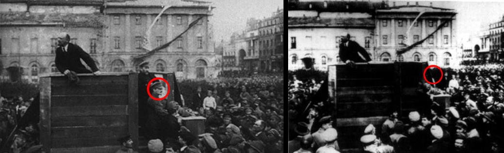 Stalin had Leon Trotsky erased from this photograph of Vladimir Lenin during an anniversary celebration of the October Revolution.