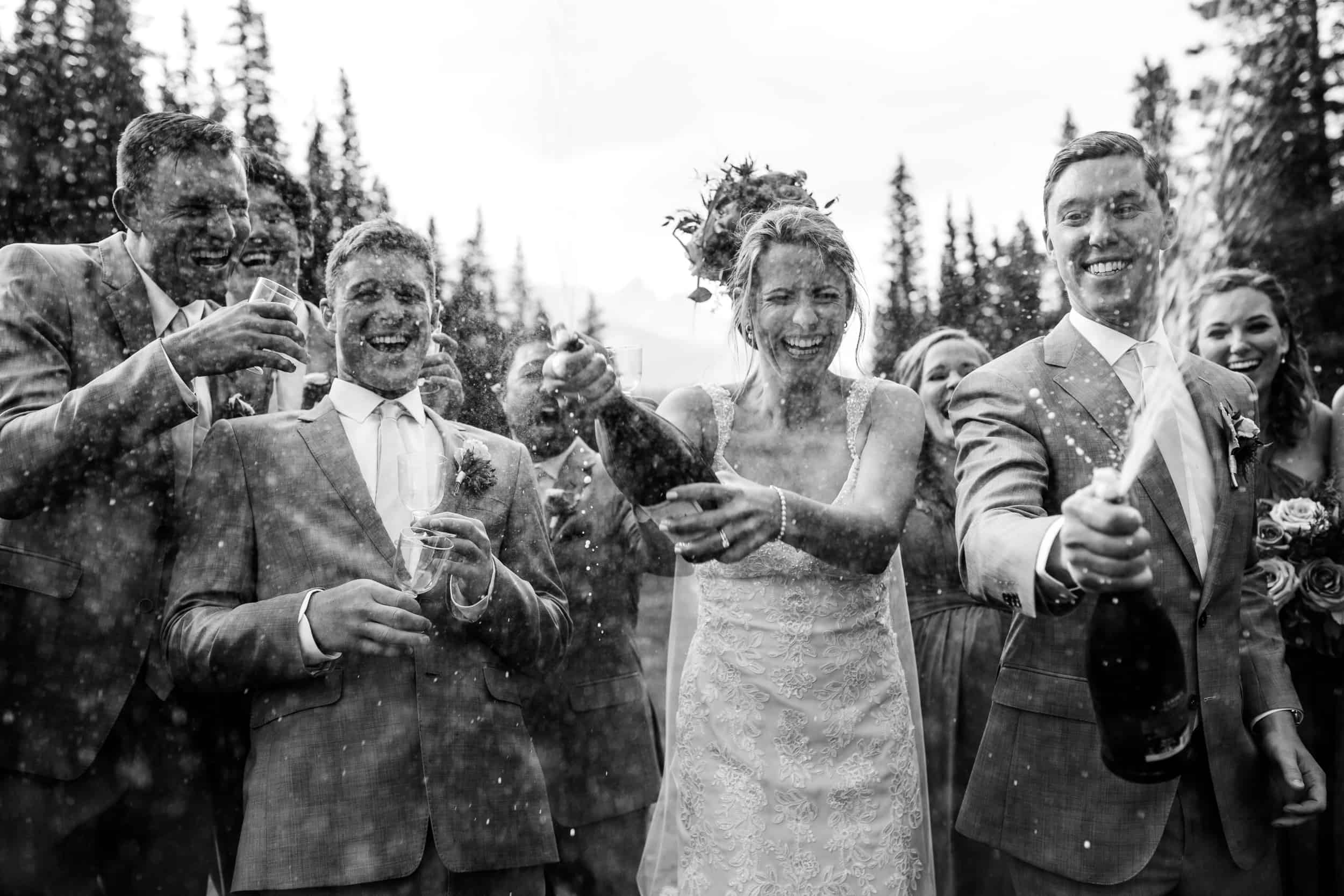 Wedding Party Fun with Champagne