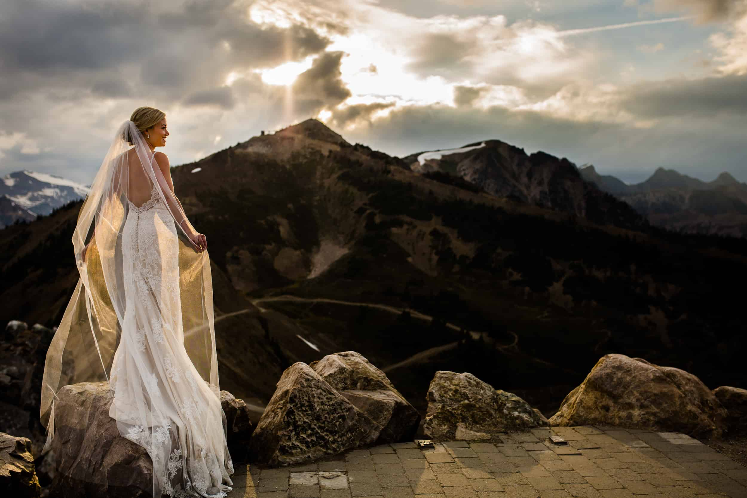 Beautiful Bride Kicking Horse Mountain Resort Sunset