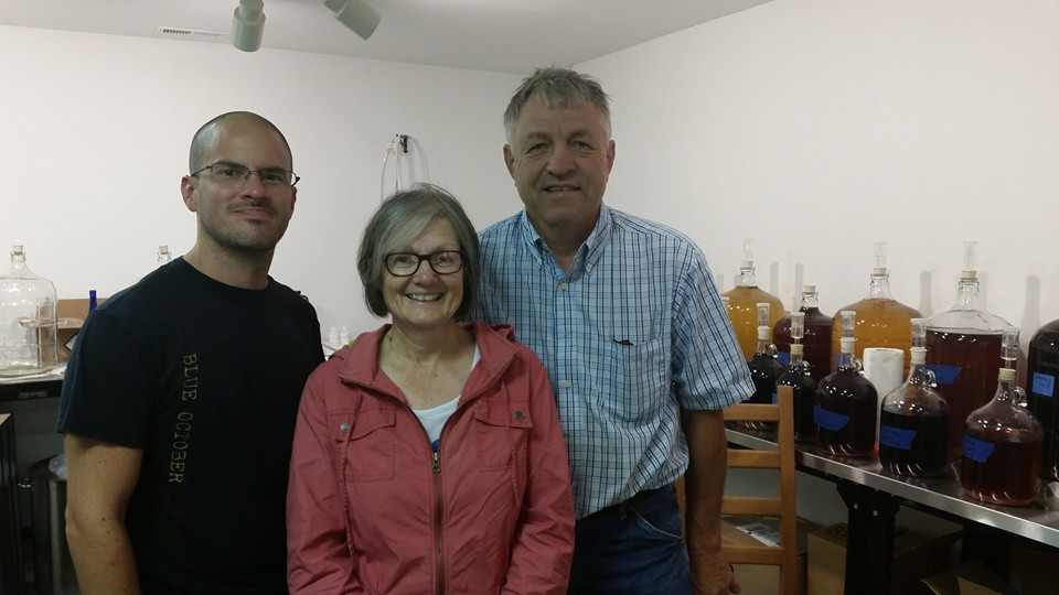 wayne with Jane and mark during their first visit to the meadery.
