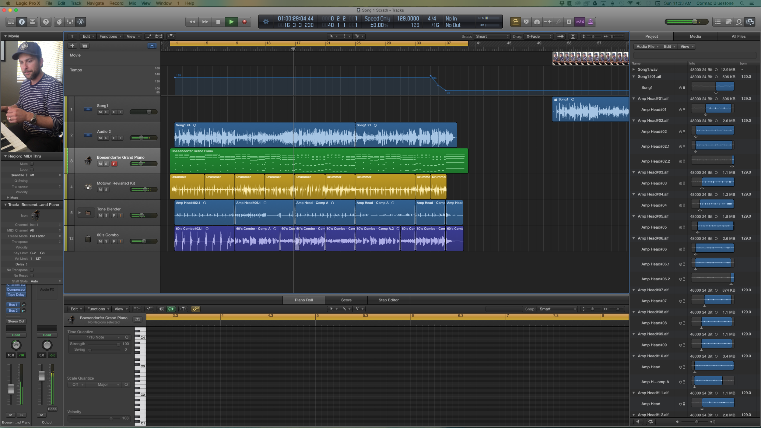 Screen Grab from mock up in Logic Pro