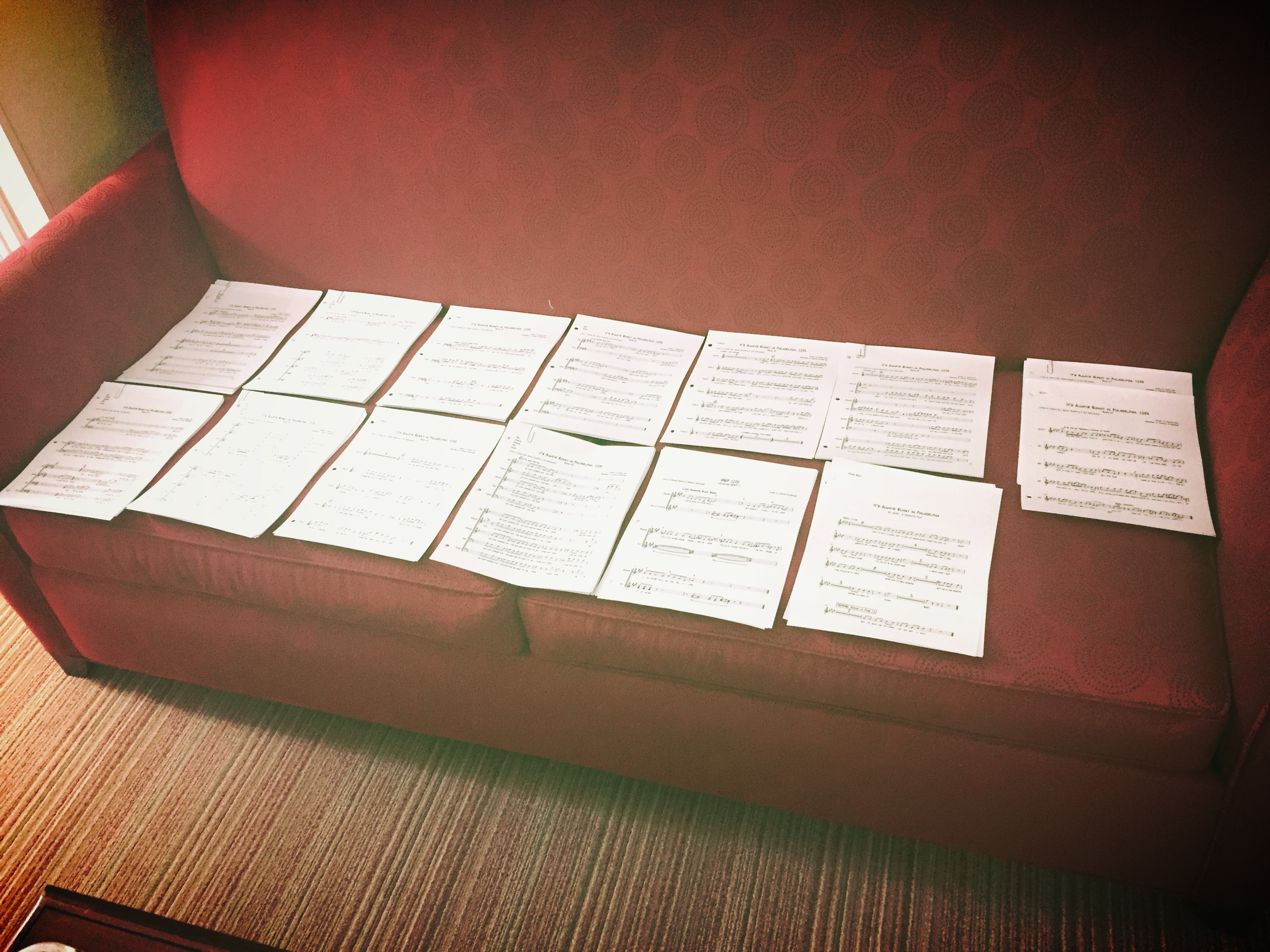 Organizing lyrics and sheet music for studio session