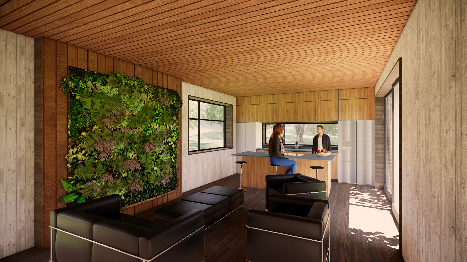 Interior Rendering of TreeHAUS, Virginia Tech's entry in the Attached Housing division of the 2019 Solar Decathlon Design Challenge.