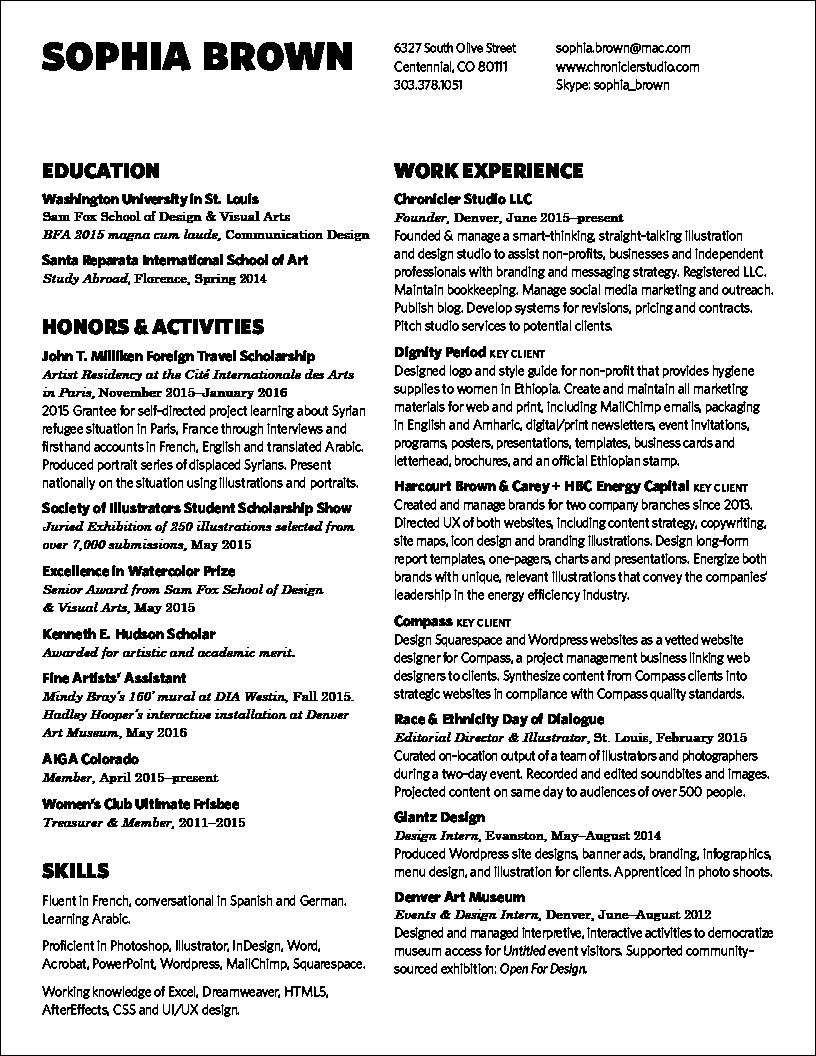 resume sophia brown