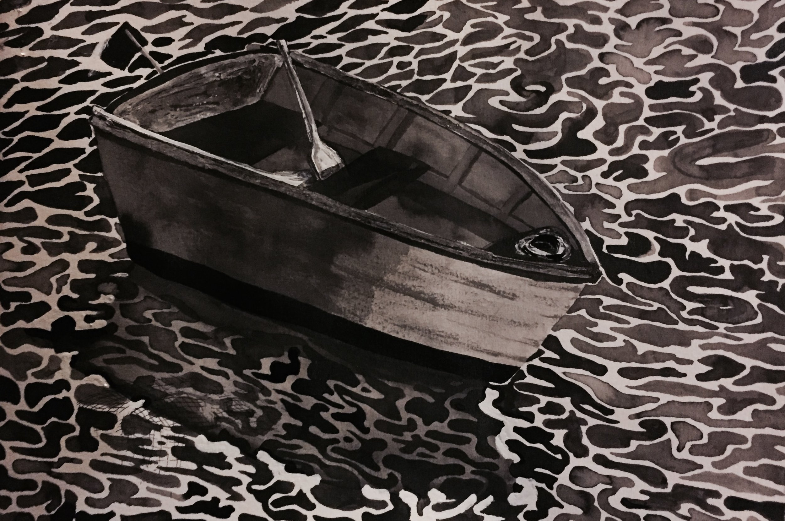 Day 1: Model boat that I bought at a garage sale, and some experiments with painting water in ink. You can tell I started in the upper left quadrant and got better as I made my way around...