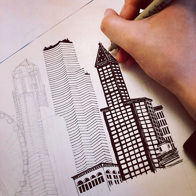 Working on the key drawing of some Seattle skyline to the tune of the eerie Black Tapes podcast, relevantly set in WA, and there's a thunderstorm going on outside... things are all perfectly creepy 💨🌩⚡️
