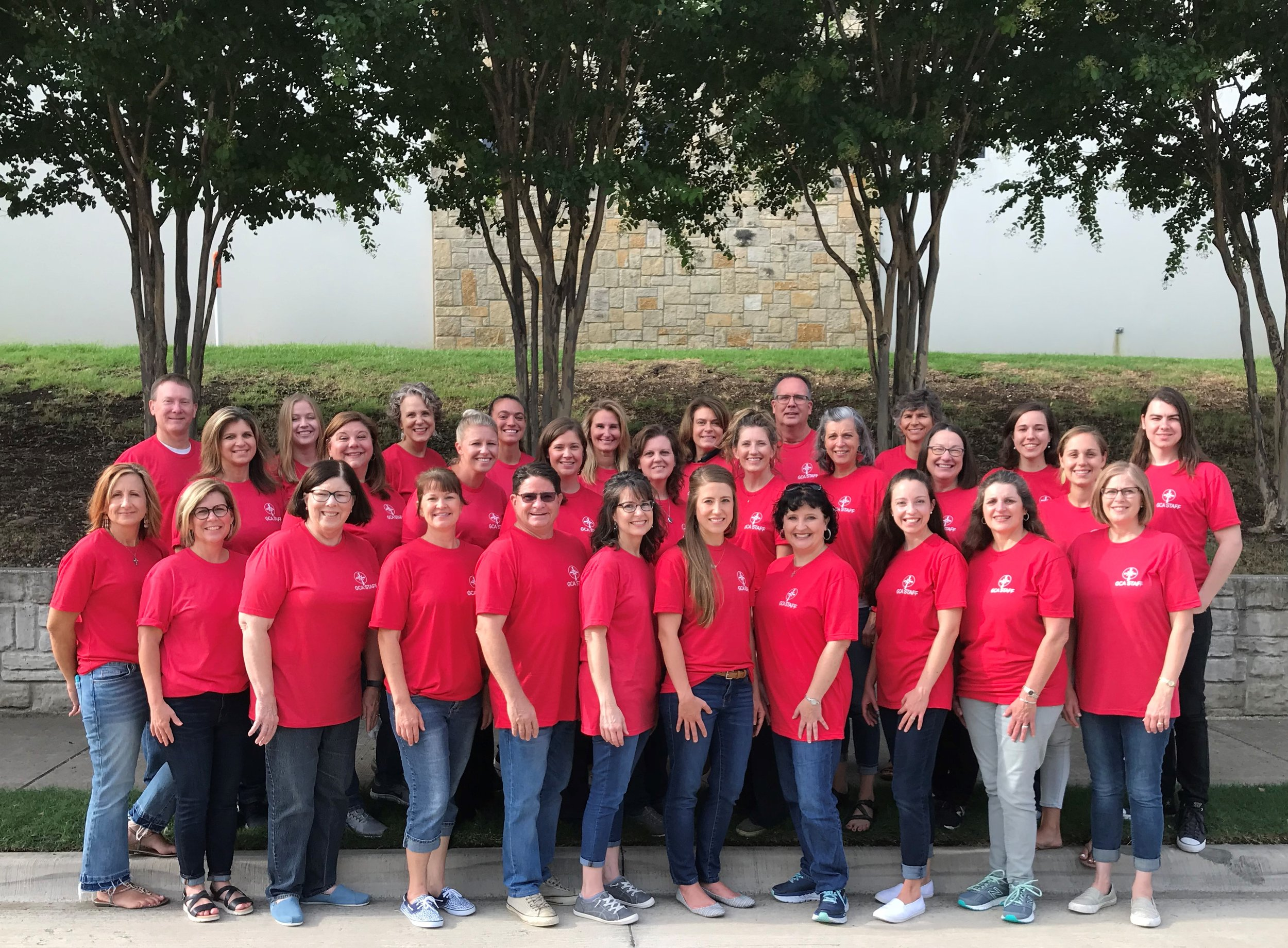 Our 2019-2020 Faculty and Staff:  L-R first row: Shannon Rowell, Diane Massey, Sondra Reid, Cari McCorkle, Brad Elledge, Melanie Burchfiel, Ashleigh Gaulke, Julie Rhine, Mary Buri, Kim Slaughter, Amy Smith. 2nd row: Omega Mejia, Shannon Behrman, Angela Grassmuck, Autumn Schafer, Christi Romeo, Julie Saunders, Rae Kramer, Sally Rodgers, Joanna Chipman. 3rd row: Michael McCorkle, Haley Edwards, Kim Martin, Bethany Paul, Julie Buman, Denise Harris, Brian Smith, Elmarie Meintjes, Tiffany Cook, Christian Cook.