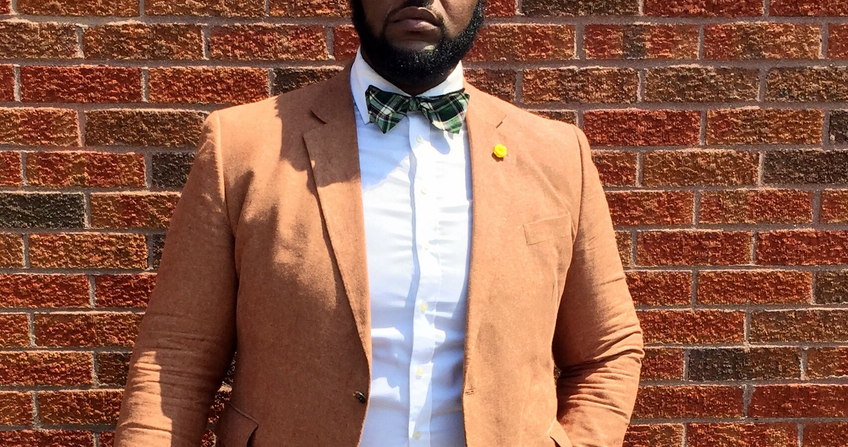 The Look Details:  Blazer: byStafford from  here   Bow Tie: by Tommy Hillfigure from TJ Maxx  similar    Pants: by   Ralph   Lauren   from Marshall's  similar   Shoes: by Stacy Adams  here    Hat: from Arth Hat Store in Soho, NY  similar    Watch: from Target  here    Travel Bag: from Aldo  here   Lapel Pin: ShopThe Big Fashion Guy (link above in shop)