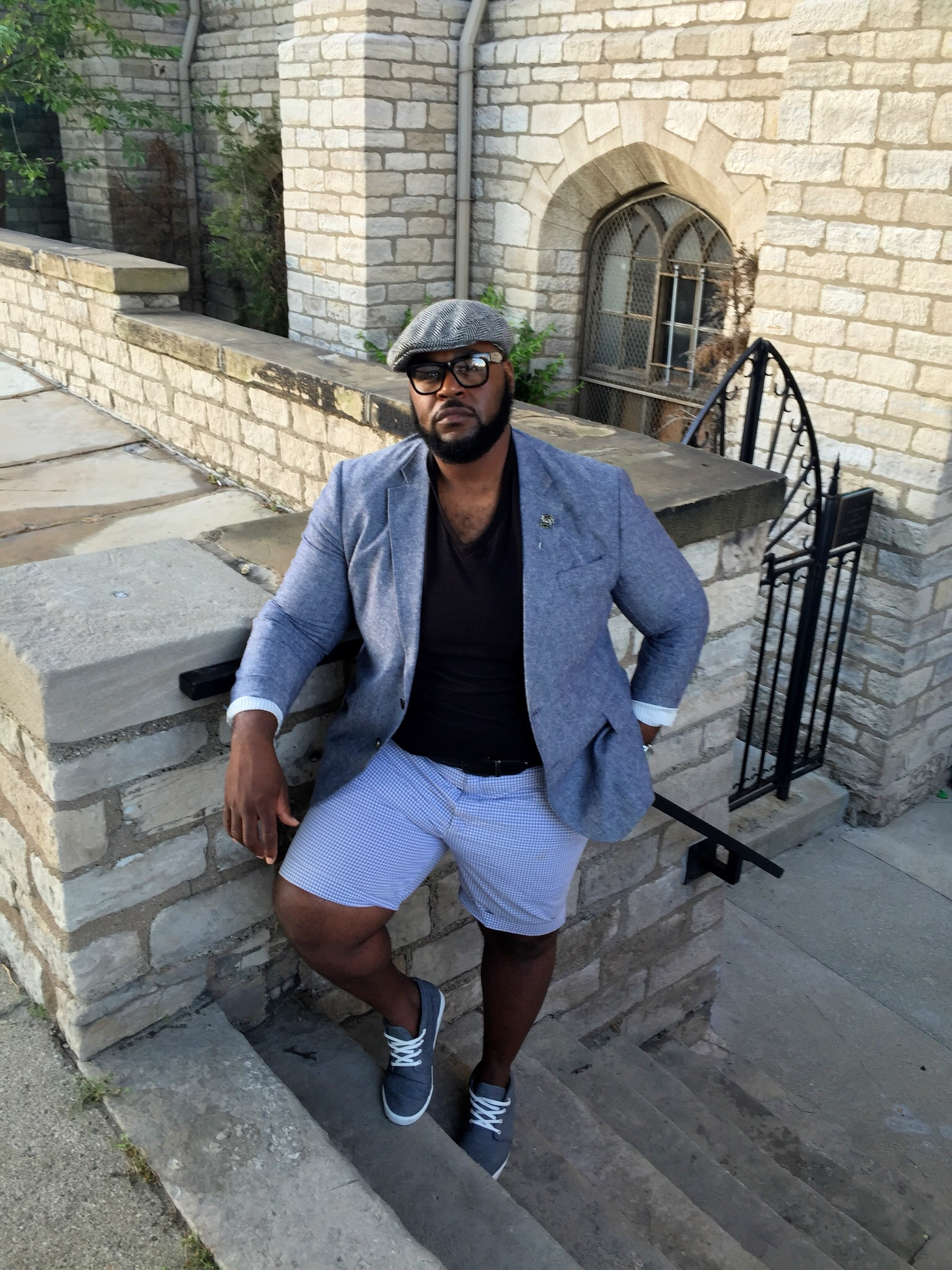 The Look Details:  Blazer: Stafford  here   V-neck T-shirt: Old Navy  here    Shorts: ByRalph Lauren from Marshalls: Price Option 1  Similar  & Price Option 2  Similar   Shoes: Old Navy  here       *my accessories hat, glasses, & watchare discount retailer finds*
