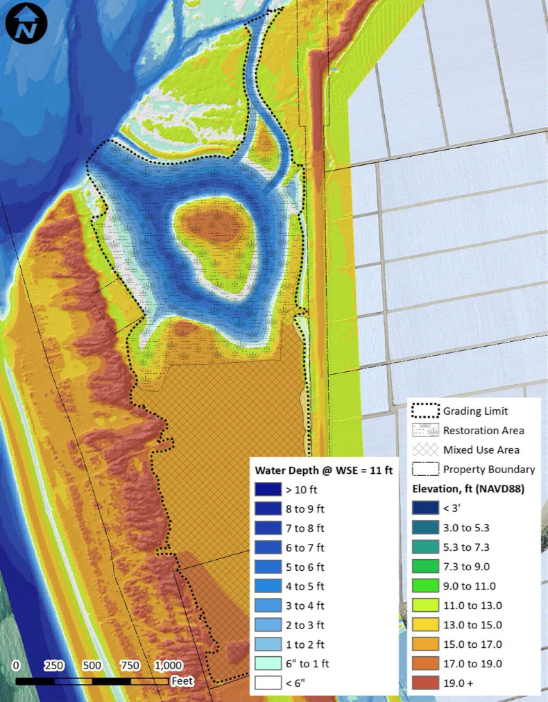 Wetted area of Preferred Restoration Design at water stage of 11 feet