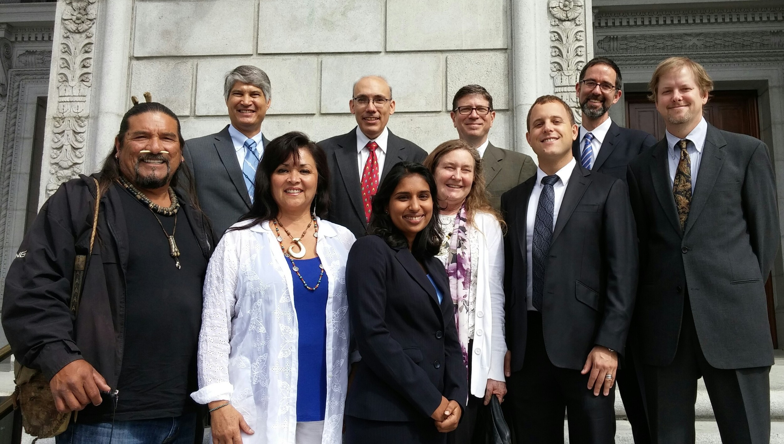 OUR TEAM MEMBERS IN ATTENDANCE FOR THE OUR SUPREME COURT ARGUMENT ON THE STEPS OF THE COURTHOUSE. TOP ROW FROM LEFT TO RIGHT: DOUG CARSTENS (CHATTEN-BROWN & CARSTENS), JOHN BUSE (CENTER FOR BIOLOGICAL DIVERSITY) SEAN HECHT (UCLA FRANK G. WELLS ENVIRONMENTAL LAW CLINIC), KEVIN BUNDY (CENTER FOR BIOLOGICAL DIVERSITY). BOTTOM ROW FROM LEFT TO RIGHT: MATI WAIYA (WISHTOYO/VENTURA COASTKEEPER), LUHUI ISHA (WISHTOYO/VENTURA COASTKEEPER), ARUNA PRABHALA (CENTER FOR BIOLOGICAL DIVERSITY), LYNNE PLAMBECK (SCOPE), JASON WEINER (WISHTOYO/VENTURA COASTKEEPER), ADAM KEATS