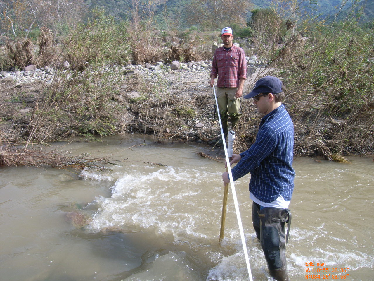 California State University Channel Island's Student measuring river flow on Sespe creek
