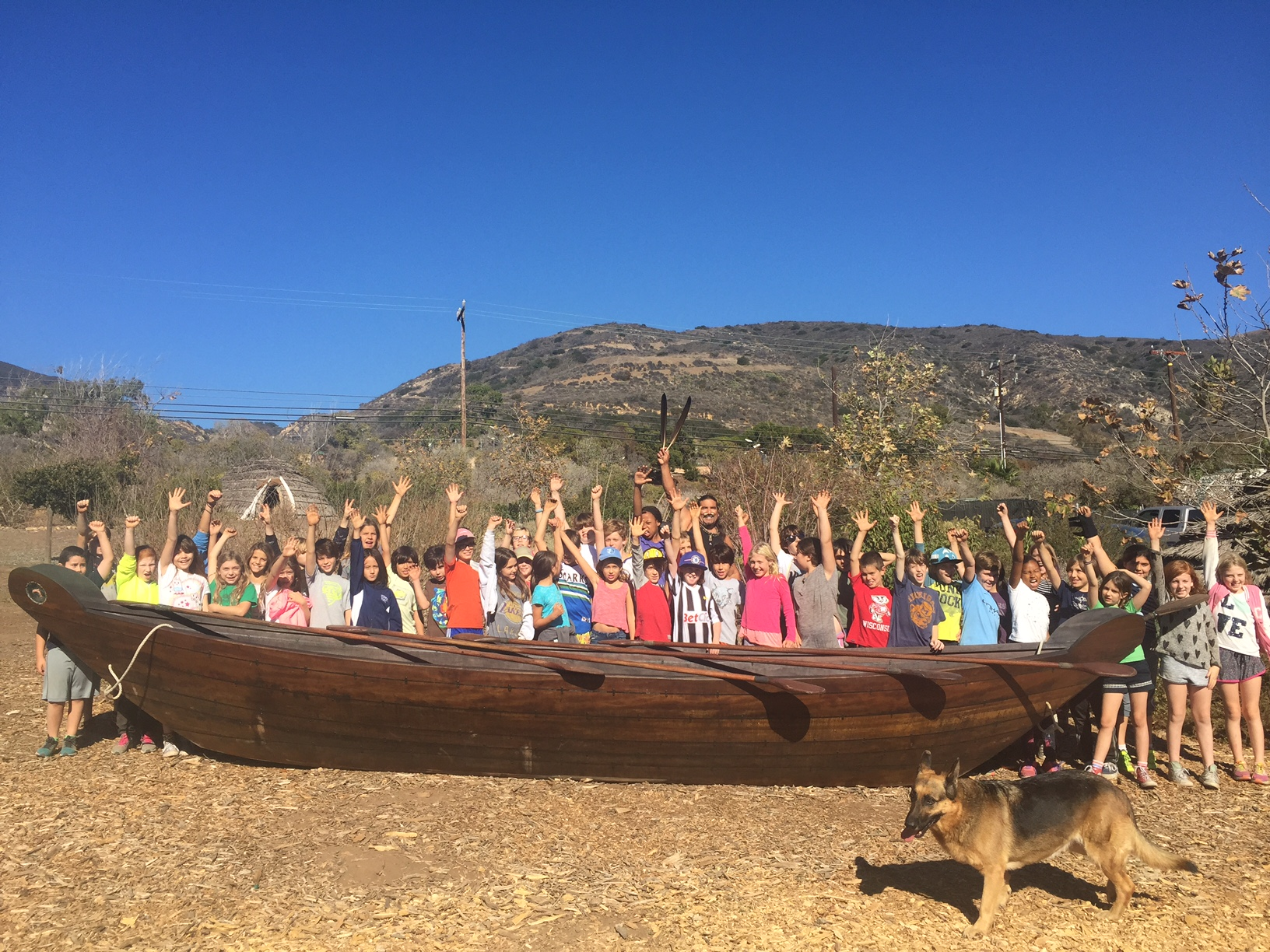 Wildwood Elementary Students learn first hand of the Traditional Mariners of the Channel Islands and the Tomols they paddle, redwood plank canoes.