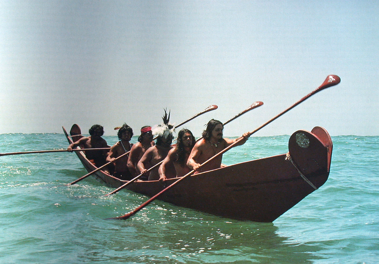 The Brotherhood of the Tomol during the channel islands crossing of 1976 in the helek (peregrine falcon).