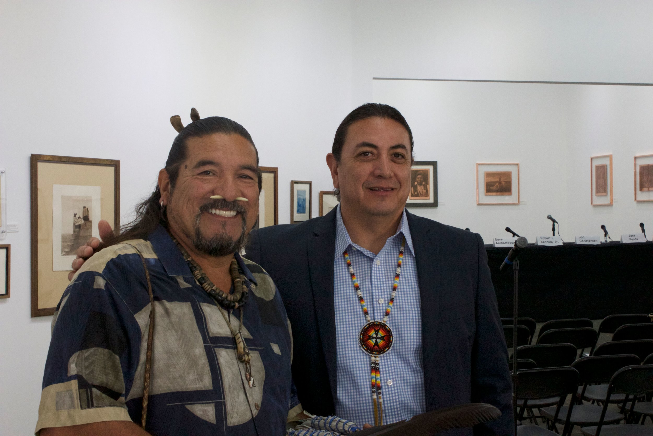 Mati Waiya, Chumash Ceremonial Elder and Executive Director of Wishtoyo Chumash Foundation and Standing Rock Sioux Tribal Chairman Dave Archambault II at the Depart Foundation.