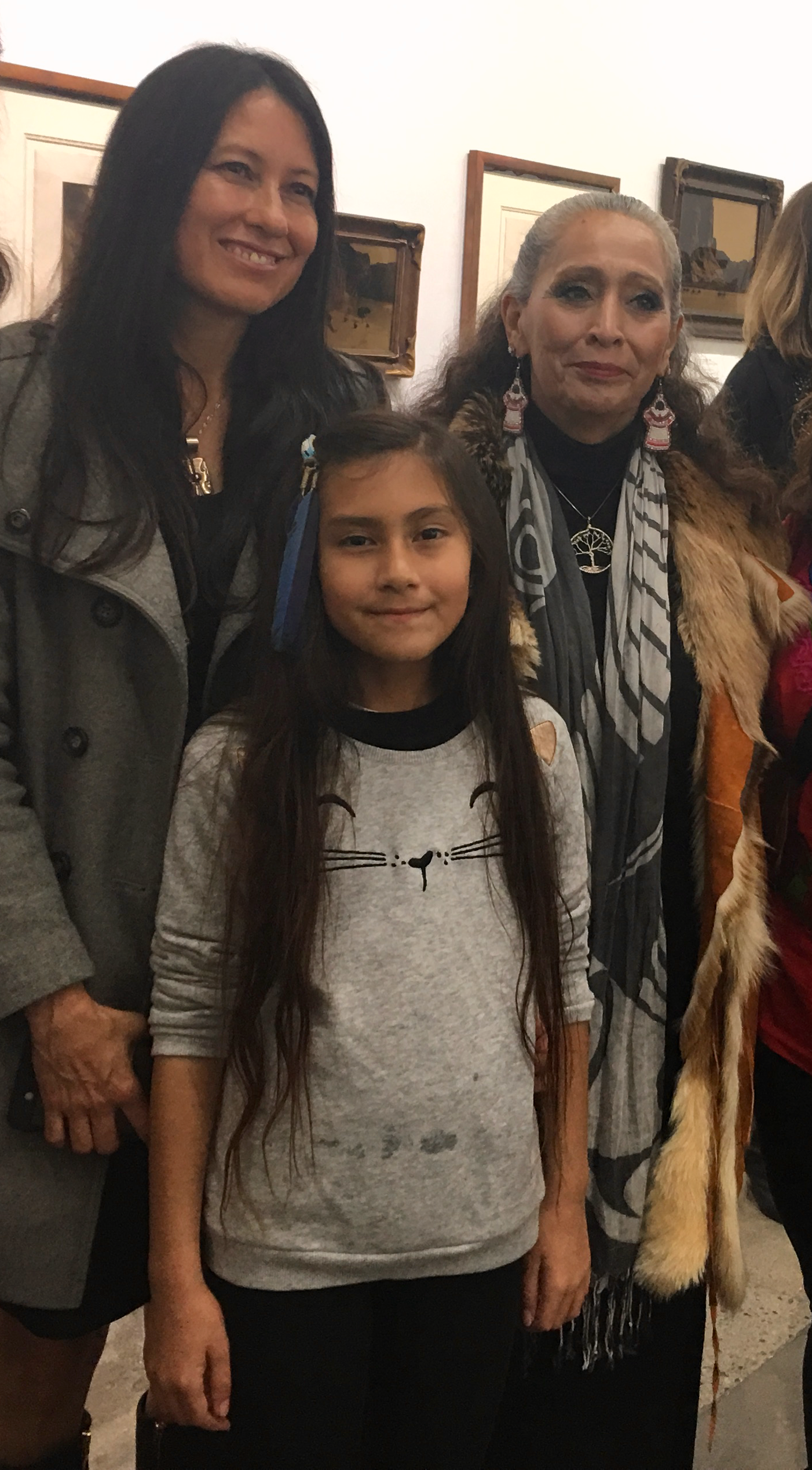 Anahuacalmecac Education Director, Minnie Ferguson and Daughter with LaDonna Brave Bull Allard
