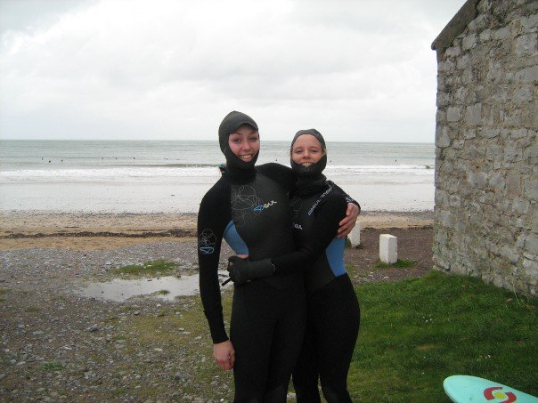 Han and Peggy! Potentially too cold to surf!