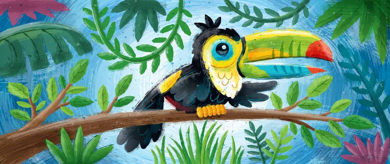 Painted jungle illustration.