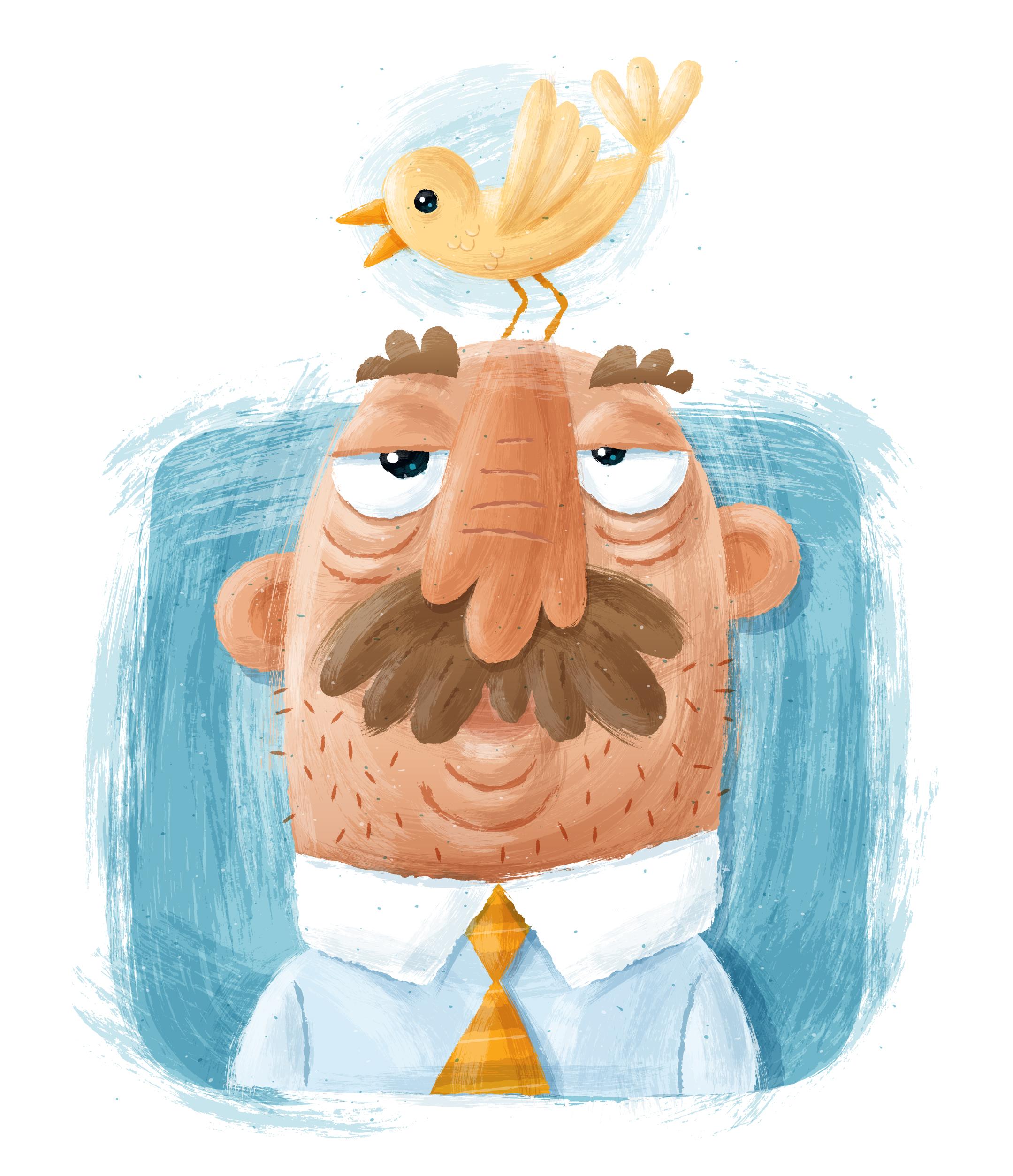 Bird brain illustration.