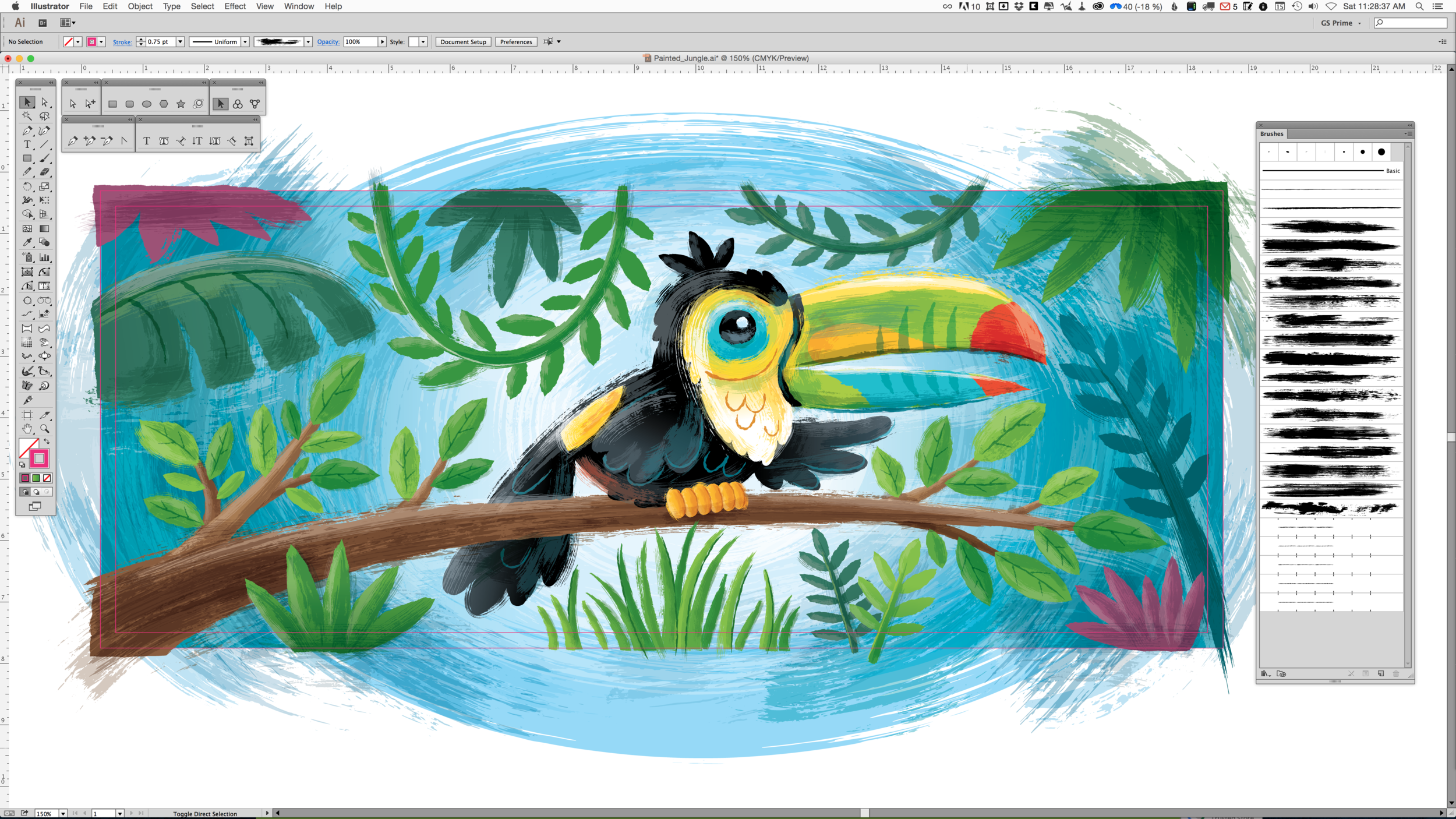Traditional results with vector-based brushes in illustrator.