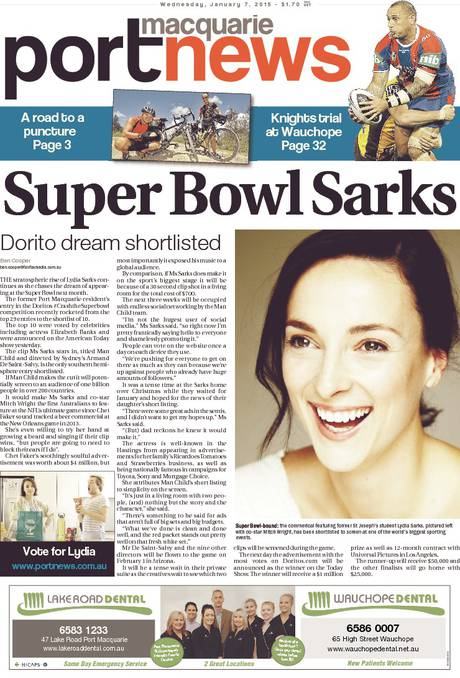 "TELEVISION | ""The stratospheric rise of Lydia Sarks continues as she chases the dream of appearing at the Super Bowl next month...The top 10 were voted by celebrities including actress Elizabeth Banks and were announced on the American Today show on Tuesday. The clip Ms Sarks stars in, titled Man Child and directed by Sydney's Armand De Saint-Salvy, is the only southern hemisphere entry shortlisted. If Manchild makes the cut it will potentially screen to an audience of one billion people in than 200 countries.""  Ben Cooper, Fairfax Media 