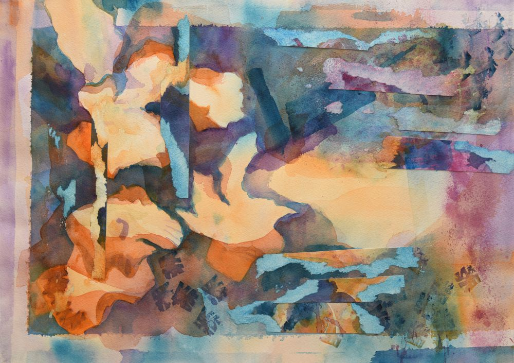 Jann Hill, BIRDS AT SUNSET Watercolour collage on Arches paper 38x56cms (unframed) $550