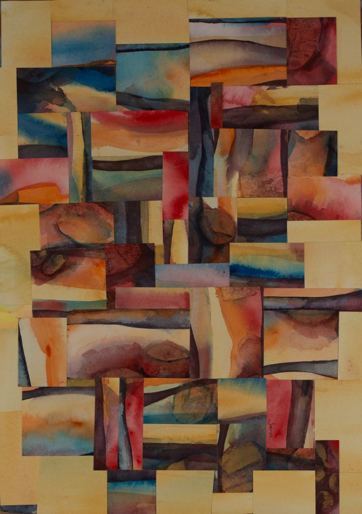 Jann HIll, COLOURS OF CAIRNS Watercolour collage on Arches paper 56x38 cms (unframed) $550