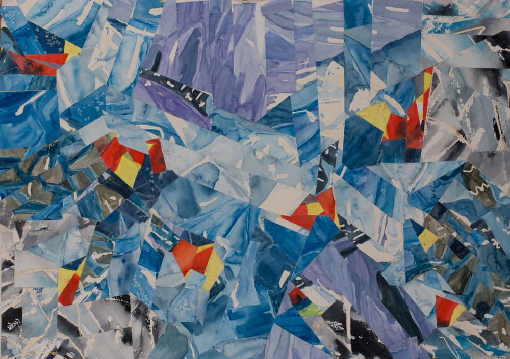 Jann Hill, ICE ENIGMA Watercolour collage on Arches paper 38x56 cms (unframed) $550