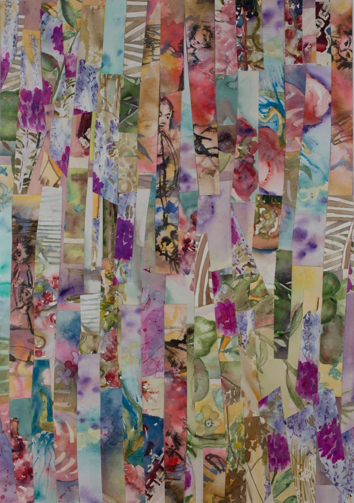 Jann Hill, RITES OF SPRING Watercolour collage on Arches paper 76x56 cms $750