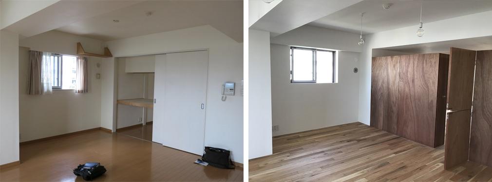 窓の上には梁があるため、そのでっぱりをなくすことはできないのですが、それ以外は整理してなるべく空間内の線を減らすようにしました。既存の壁を取り払い、家具を置いて主要用途を区切っています。