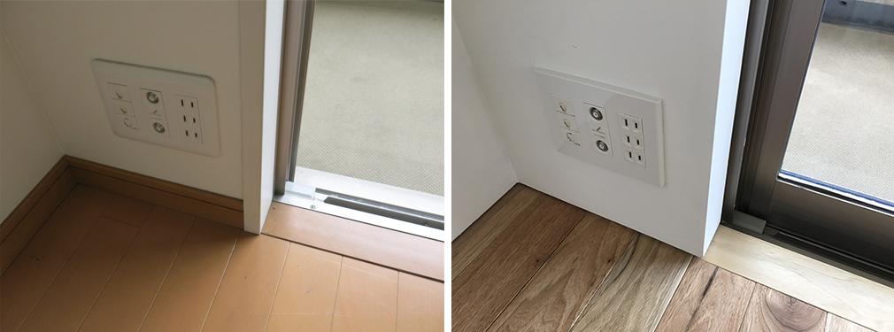 巾木は浮き巾木に変更しました。また、電気設備のプレートは全てスクエアプレートに変更。窓枠はなくし塗装のみこみで仕上げています。