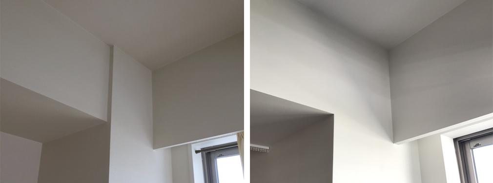 とても当たり前のように見えて当たり前のことがなされていない設計って多いです。マンションを設計するとき、どれだけ梁が目立たないようにするか、なぜ考えてくれないのだろうかとよく思います。今回はなるべく梁の存在をなくすために梁の面を壁と同面にしたり、他の家具や壁や扉のラインと合わせました。かなり地味な作業ですが、この積み重ねが空間のすっきりとした印象に繋がるか左右されます。