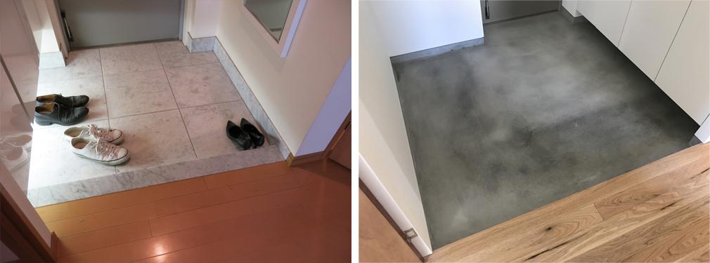 大理石の玄関をコンクリート土間に変更。そして玄関を拡張しました。
