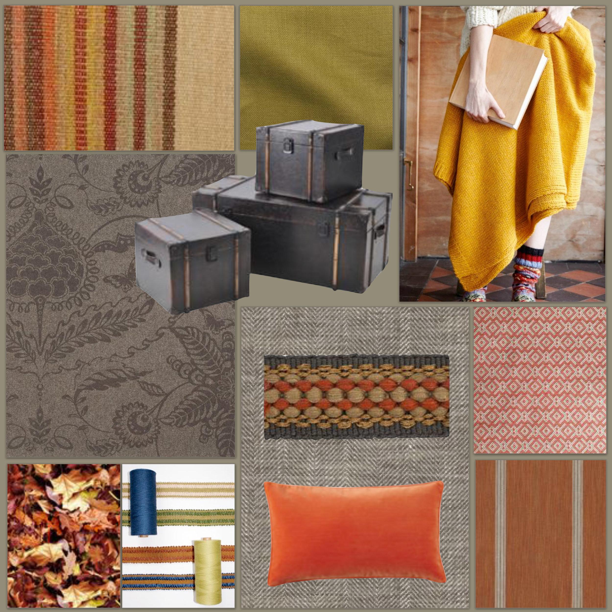 L-R: Twelve Bar Stripe wool / linen mix, Mulberry. Lombardia Linen in Mustard, Spruce London. Knitted Quince Throw, Plümo. Paradise Flower Wool Panel, Rapture & Wright. Brown Faux Leather Storage Trunks, Artisanti. Arran Brown linen mix, Ian Mankin. Festival Braid Denim Trim, Fabrics & Papers. Plain Velvet Cushion Cover, burnt orange, Oka. Amesbury Orange textured fabric, Blithfield. Moro Mango, Romo.
