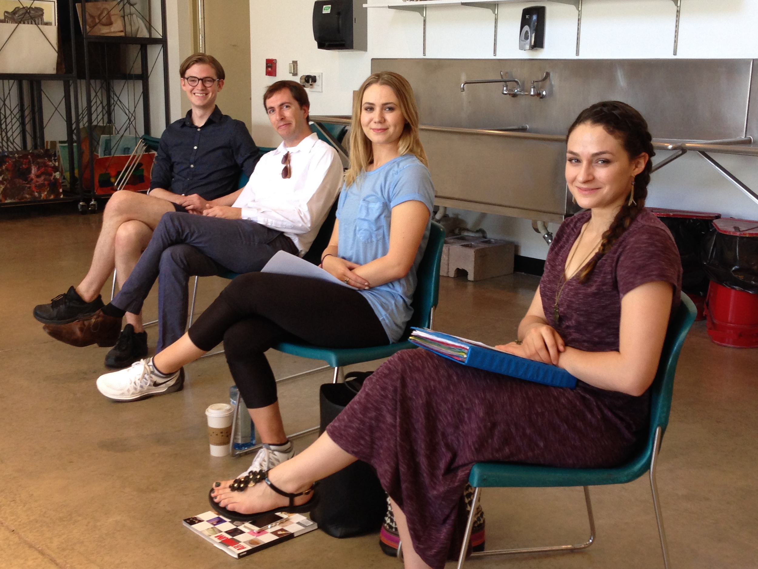 PVCC alumni Collin Pressler and Eric Heimbecker visit Katlynn McNab, Heidi Klotz and PVCC art students in the painting and drawing studio to discuss their work with curating and social engaged projects.