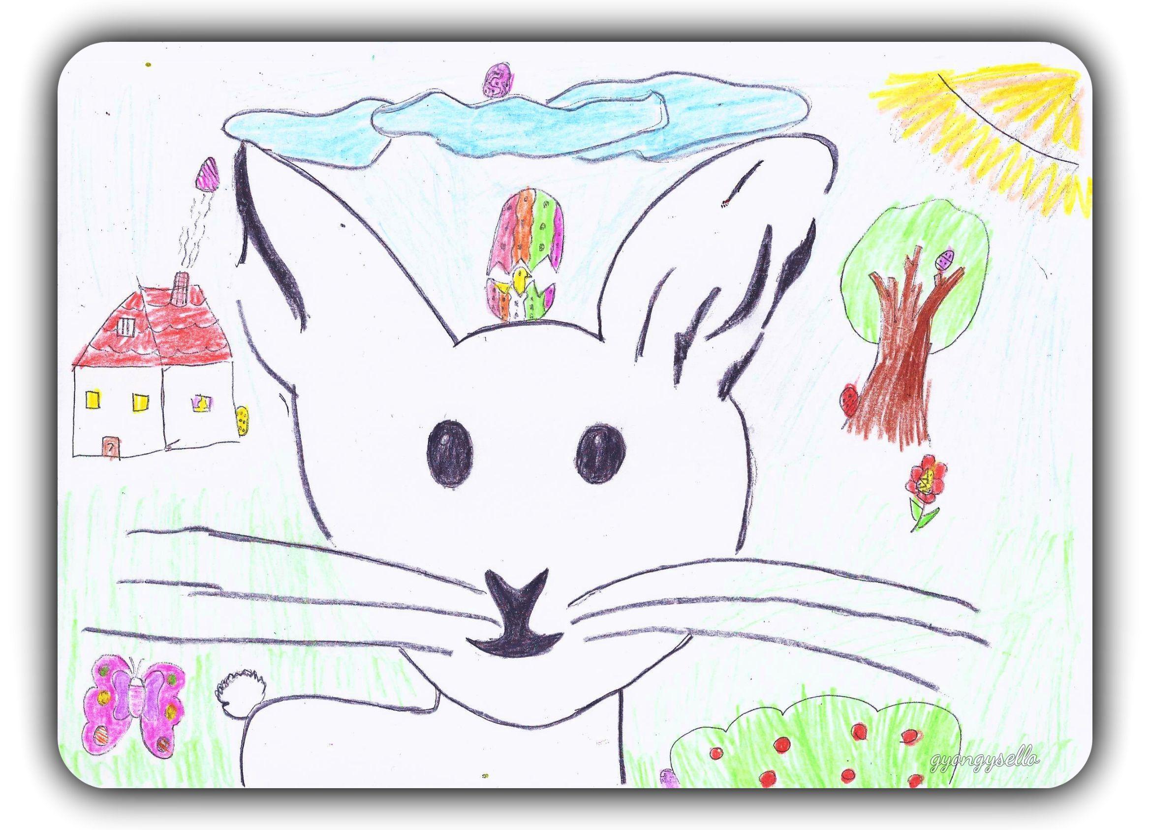 húsvéti nyuszi gyerekrajz
