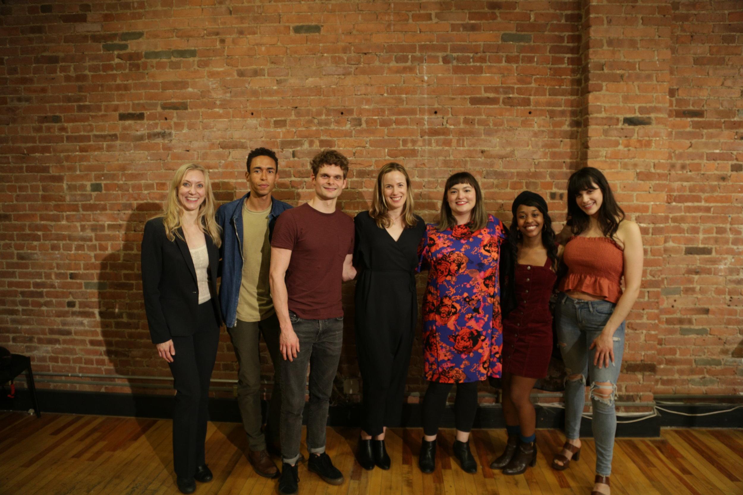 L-R: Tina Benko (Violet); Kyle Beltran (Markus); Andrew Durand (CJ); Sarah Krohn (Director); Amy Gijsbers van Wijk (writer); Mirirai Sithole (Layla); Fig Chilcott (Allison)